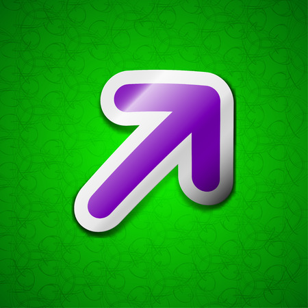 reveal: Arrow Expand Full screen Scale icon sign. Symbol chic colored sticky label on green background. illustration