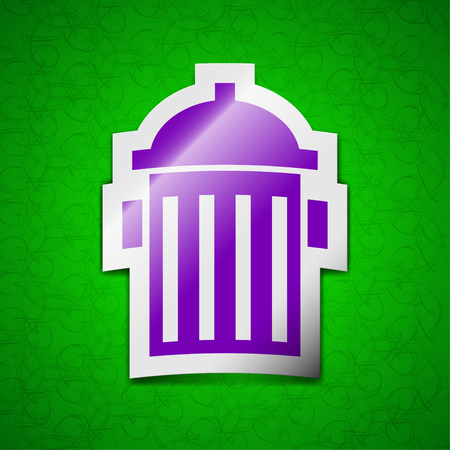 hydrant plug: fire hydrant icon sign. Symbol chic colored sticky label on green background. illustration Stock Photo