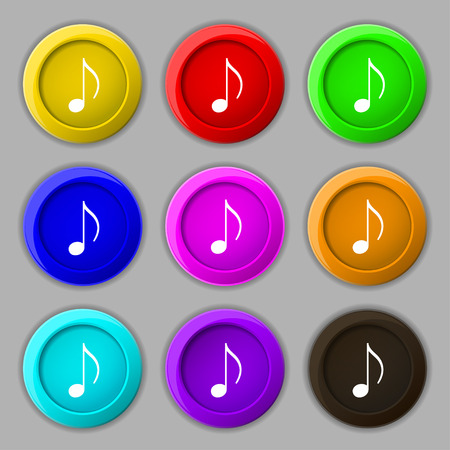 ringtone: musical note, music, ringtone icon sign. symbol on nine round colourful buttons. illustration