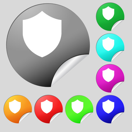 security token: Shield, Protection icon sign. Set of eight multi-colored round buttons, stickers. illustration Stock Photo