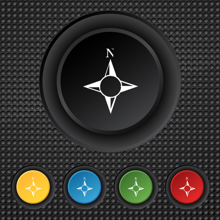 windrose: Compass sign icon. Windrose navigation symbol. Set colourful buttons. illustration