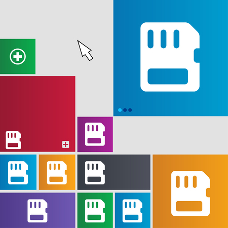 memory card: compact memory card icon sign. buttons. Modern interface website buttons with cursor pointer. illustration