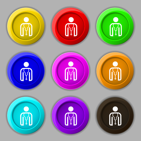 clinical staff: doctor icon sign. symbol on nine round colourful buttons. illustration
