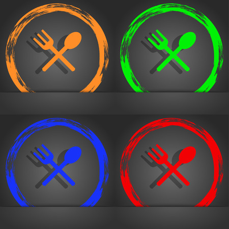crosswise: Fork and spoon crosswise, Cutlery, Eat icon sign. Fashionable modern style. In the orange, green, blue, red design. illustration