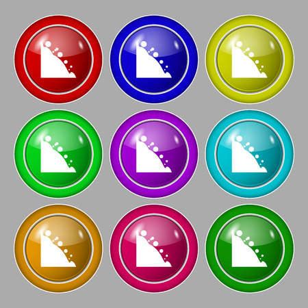rockfall: Rockfall icon. Symbol on nine round colourful buttons. illustration Stock Photo