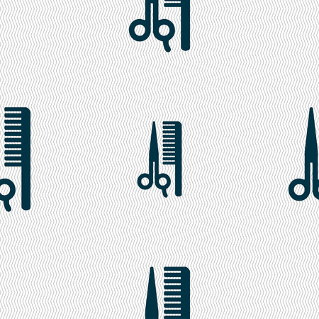 decoration decorative disguise: hair icon sign. Seamless pattern with geometric texture. illustration Stock Photo
