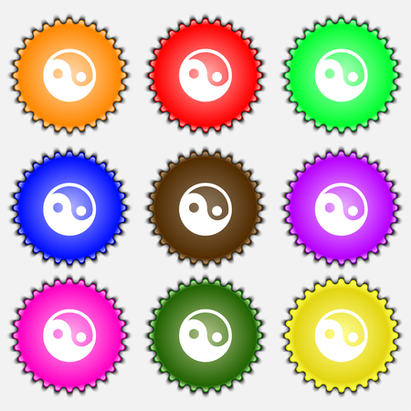 daoism: Ying yang icon sign. A set of nine different colored labels. illustration Stock Photo