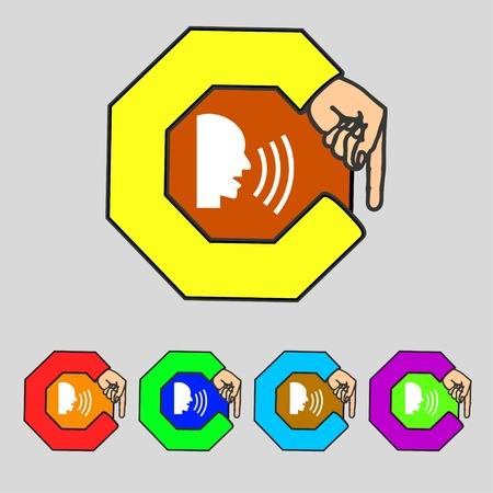 loudy: Talking Flat modern web icon. Set colour button. illustration Stock Photo