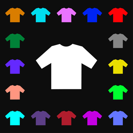 fashion boy: t-shirt icon sign. Lots of colorful symbols for your design. illustration Stock Photo