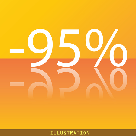95: 95 percent discount icon symbol Flat modern web design with reflection and space for your text. illustration. Raster version Stock Photo