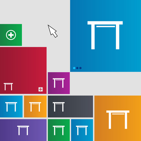 stool: stool seat icon sign. Metro style buttons. Modern interface website buttons with cursor pointer. illustration Stock Photo