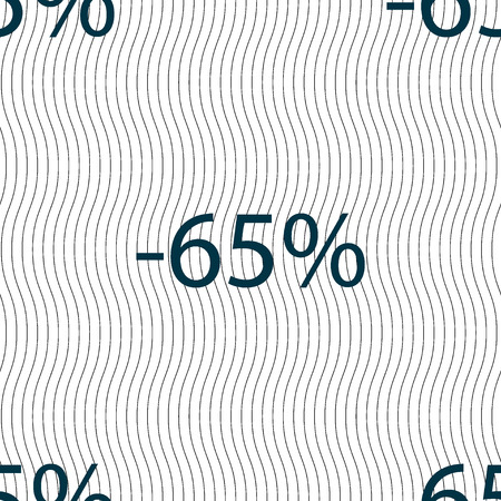 65: 65 percent discount sign icon. Sale symbol. Special offer label. Seamless pattern with geometric texture. illustration Stock Photo
