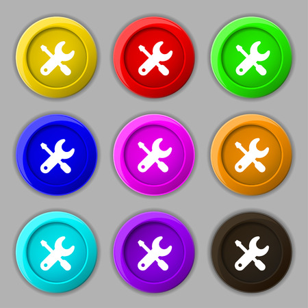 trackpad: screwdriver, key, settings icon sign. symbol on nine round colourful buttons. illustration Stock Photo