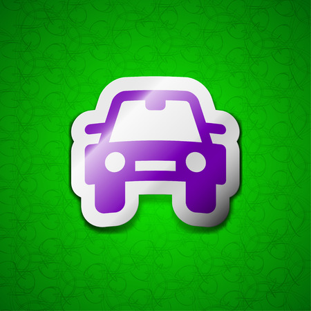 coupe: Auto icon sign. Symbol chic colored sticky label on green background. illustration