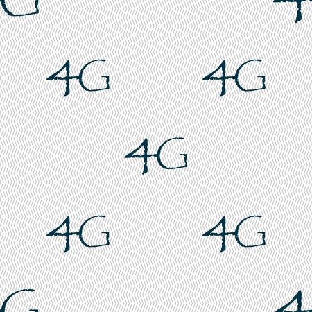telecommunications technology: 4G sign icon. Mobile telecommunications technology symbol. Seamless abstract background with geometric shapes. illustration