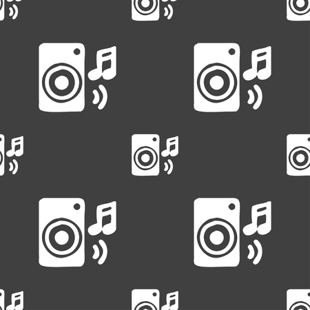 volume glow light: music column, disco, music, melody, speaker icon sign. Seamless pattern on a gray background. illustration