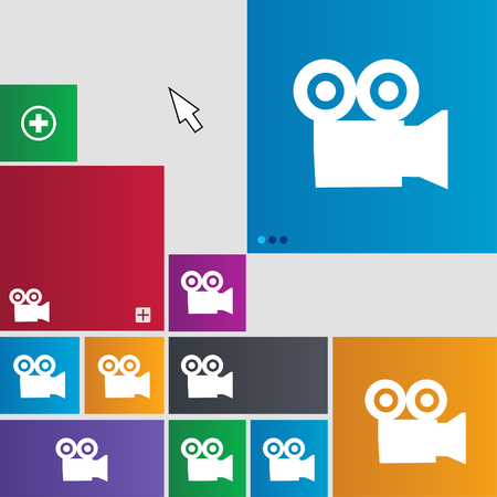 journalistic: video camera icon sign. buttons. Modern interface website buttons with cursor pointer. illustration