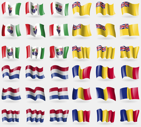 niue: Bosnia and Herzegovina Federation, Niue, Netherlands, Romania. Set of 36 flags of the countries of the world. illustration Stock Photo