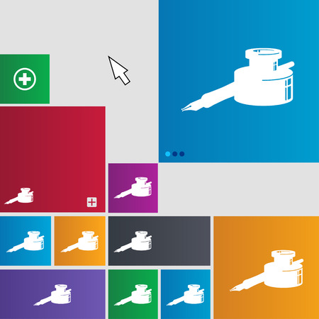 signing papers: pen and ink icon sign. buttons. Modern interface website buttons with cursor pointer. illustration