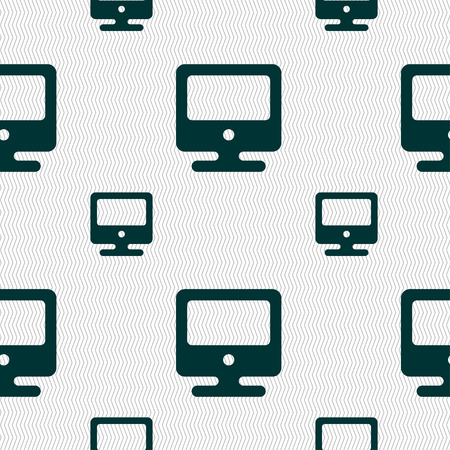 incrustation: monitor icon sign. Seamless pattern with geometric texture. illustration