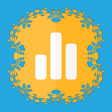 upturn: Growth and development concept. graph of Rate . Floral flat design on a blue abstract background with place for your text. illustration