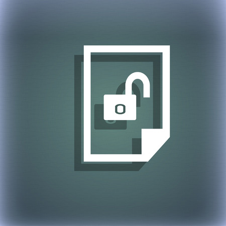 File unlocked icon sign. On the blue-green abstract background with shadow and space for your text. illustration