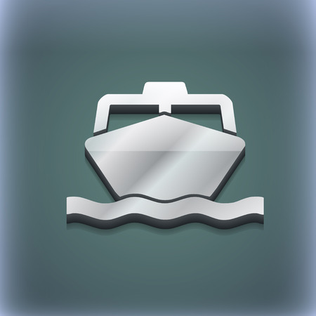 sea tanker ship: the boat icon symbol. 3D style. Trendy, modern design with space for your text illustration. Raster version