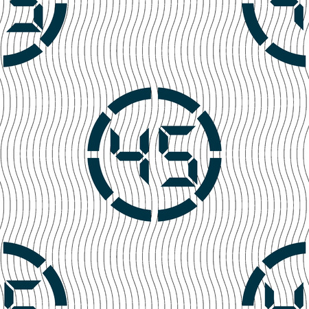 corner clock: 45 second stopwatch icon sign. Seamless pattern with geometric texture. illustration Stock Photo