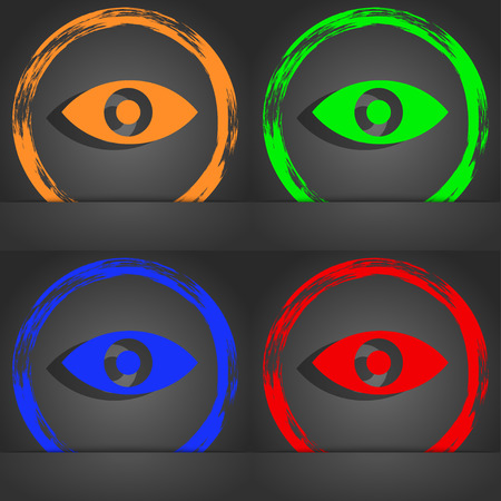 sixth sense: Eye, Publish content, sixth sense, intuition icon symbol. Fashionable modern style. In the orange, green, blue, green design. illustration