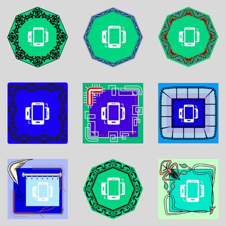 sync: Synchronization sign icon. smartphones sync symbol. Data exchange. Set colur buttons illustration