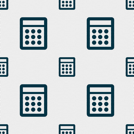 bookkeeping: Calculator sign icon. Bookkeeping symbol. Seamless abstract background with geometric shapes. illustration