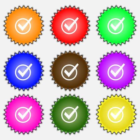 verify: Check mark, tik icon sign. A set of nine different colored labels. illustration