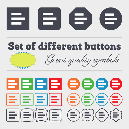 medium group of object: Left-aligned icon sign. Big set of colorful, diverse, high-quality buttons. illustration