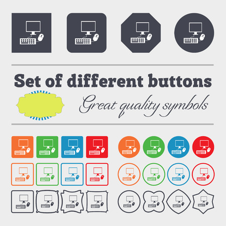 keyboard and mouse: Computer widescreen monitor, keyboard, mouse sign icon. Big set of colorful, diverse, high-quality buttons. illustration