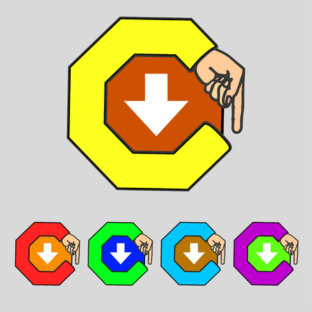downloading: Download sign. Downloading flat icon. Load label. Set colourful buttons illustration