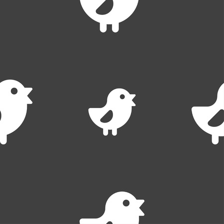 free range: chicken, Bird icon sign. Seamless pattern on a gray background. illustration Stock Photo
