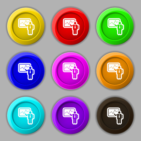 sign making: businessman making report icon sign. symbol on nine round colourful buttons. illustration Stock Photo
