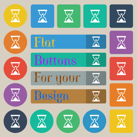 sand timer: Hourglass, Sand timer icon sign. Set of twenty colored flat, round, square and rectangular buttons. illustration