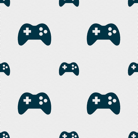 quality controller: Joystick sign icon. Video game symbol. Seamless abstract background with geometric shapes. illustration