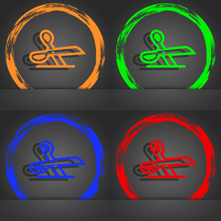 snip: scissors icon symbol. Fashionable modern style. In the orange, green, blue, green design. illustration Stock Photo