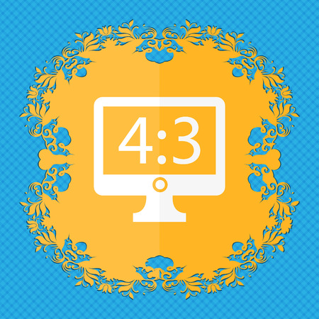 4 3 display: Aspect ratio 4 3 widescreen tv icon sign. Floral flat design on a blue abstract background with place for your text. illustration