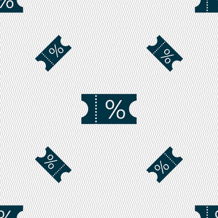 permission: ticket discount icon sign. Seamless pattern with geometric texture. illustration