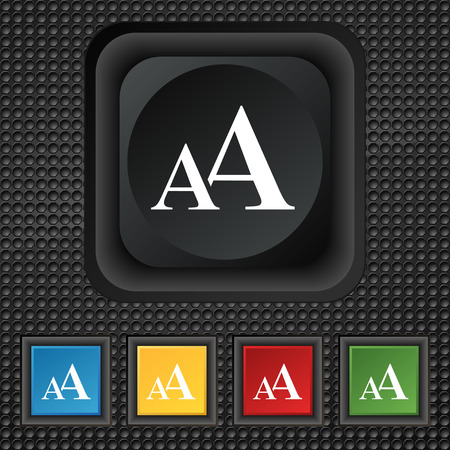 enlarge: Enlarge font, AA icon sign. symbol Squared colourful buttons on black texture. illustration Stock Photo