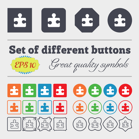 puzzle corners: Puzzle piece icon sign. Big set of colorful, diverse, high-quality buttons. illustration Stock Photo