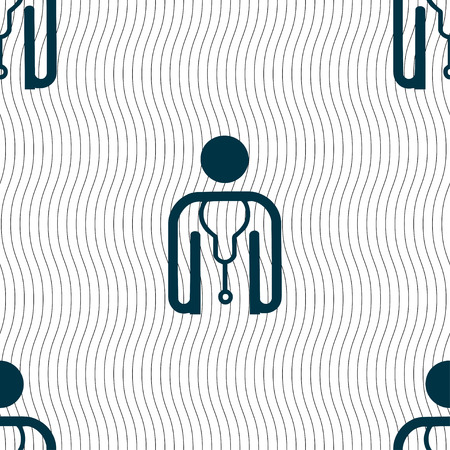 clinical staff: doctor icon sign. Seamless pattern with geometric texture. illustration