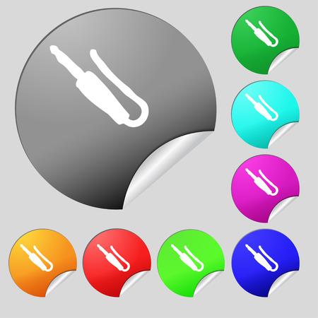 minijack: plug, mini jack icon sign. Set of eight multi colored round buttons, stickers. illustration Stock Photo