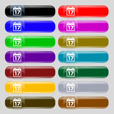 reminder icon: Calendar, Date or event reminder icon sign. Set from fourteen multi-colored glass buttons with place for text. illustration