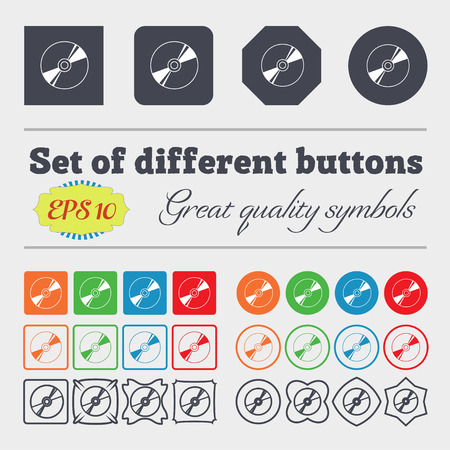 compact disk: Cd, DVD, compact disk, blue ray icon sign. Big set of colorful, diverse, high-quality buttons. illustration