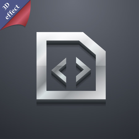 hypertext: Programming code icon symbol. 3D style. Trendy, modern design with space for your text illustration. Rastrized copy