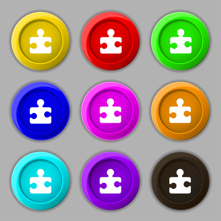 puzzle corners: Puzzle piece icon sign. symbol on nine round colourful buttons. illustration Stock Photo